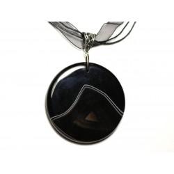 N5 - Collier Pendentif en Pierre - Agate noire et blanche rond 52mm