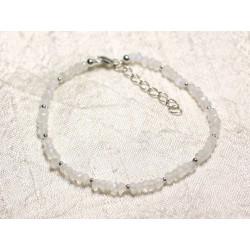 Bracelet Argent 925 et Pierre - Pierre de Lune Arc en Ciel rondelles facettées 3mm
