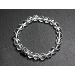 Bracelet Bouddha et Pierre semi précieuse - Cristal de Roche Quartz Facetté