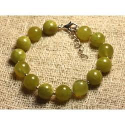 Bracelet Argent 925 et Pierre - Jade Olive 10mm