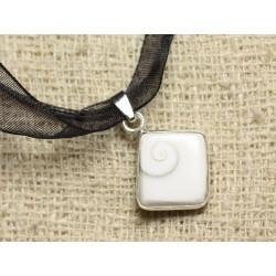 Collier Pendentif argent 925 Oeil Shiva Sainte Lucie Losange 18mm N1