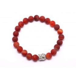 Bracelet Bouddha et Pierre semi précieuse - Agate Rouge Mat givré 8mm