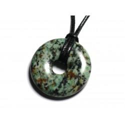 Collier Pendentif Pierre semi précieuse - Turquoise Afrique Donut Pi 30mm