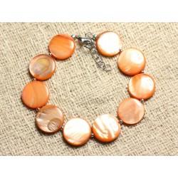 Bracelet Argent 925 et Nacre Palets 15mm Orange