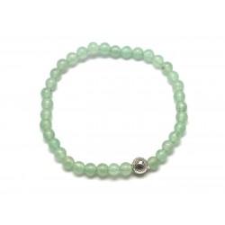 Bracelet Pierre semi précieuse Aventurine verte 4mm et Perle argentée