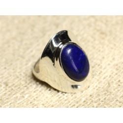 N124 - Bague Argent 925 et Pierre - Lapis Lazuli Ovale 14x10mm