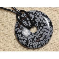 Collier Pendentif en Pierre - Obsidienne Flocon de Neige Mouchetée Donut Pi 40mm