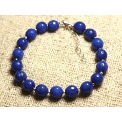 Bracelet Argent 925 et Pierre - Jade Bleue Facettée 8mm