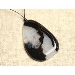 Collier Pendentif en Pierre - Agate et Quartz Noir et Blanc Goutte 63mm N2