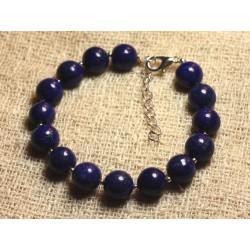 Bracelet Argent 925 et Pierre - Lapis Lazuli 10mm