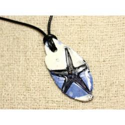 Collier Pendentif Céramique Empreinte Etoile de Mer 52x24mm Bleu