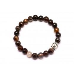 Bracelet Bouddha et Pierre semi précieuse - Agate Marron 8mm