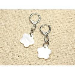 Boucles d'Oreilles Nacre Fleurs 15mm Blanc
