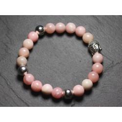 Bracelet Bouddha et Pierre semi précieuse - Opale Rose 8mm