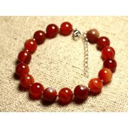 Bracelet Argent 925 et Pierre semi précieuse - Agate Rouge 10mm