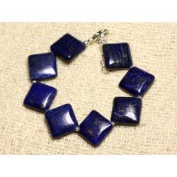 Bracelet Argent 925 et Pierre - Lapis Lazuli Losanges 17mm