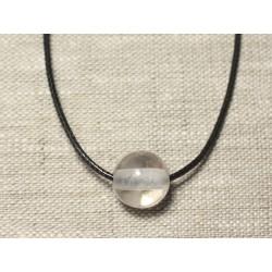 Collier Pendentif Pierre semi précieuse - Cristal Quartz Boule 14mm