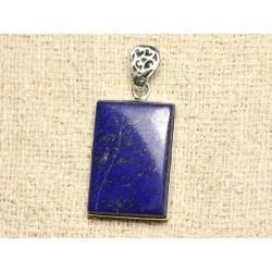 N40 - Pendentif Argent 925 et Pierre - Lapis Lazuli Rectangle 32x22mm