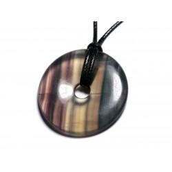 Collier Pendentif en Pierre - Fluorite Multicolore Donut Pi 40mm