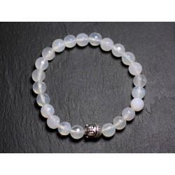Bracelet Bouddha et Pierre semi précieuse - Agate Blanche Facettée 8mm