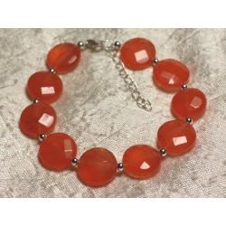 Bracelet Argent 925 et Pierre - Jade Orange Palets Facettés 14mm