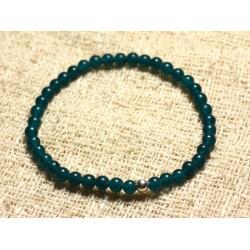Bracelet Argent 925 et Perles de Pierre Jade Bleu Vert 4mm