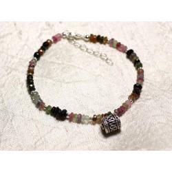 Bracelet Argent 925 et Pierre - Tourmaline Multicolore rondelles facettées 3x2mm