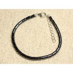 Bracelet Argent 925 et Pierre - Hématite Tubes 6mm