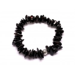 Bracelet Pierre Ambre naturelle Cerise 5-9mm et Perle argentée