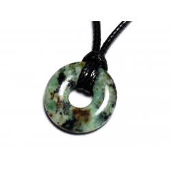 Collier Pendentif en Pierre - Turquoise Afrique Donut Pi 20mm
