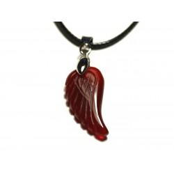 Collier Pendentif en Pierre - Aile gravée 24mm Agate rouge