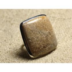 Bague Argent 925 et Pierre Taille Réglable - Corail Fossile Rectangle 31x28mm