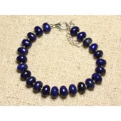 Bracelet Argent 925 et Pierre - Lapis Lazuli Rondelles 8mm