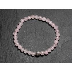 Bracelet Pierre semi précieuse Quartz Rose 4mm et Perle argentée