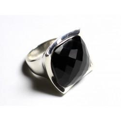 N222 - Bague Argent 925 Onyx Noir Facetté Carré 20mm