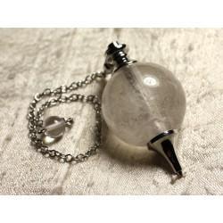 Pendule Métal Argenté Rhodium et Pierre semi précieuse - Cristal Quartz Boule 30mm