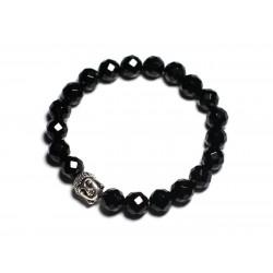 Bracelet Bouddha et Pierre semi précieuse - Onyx noir facetté