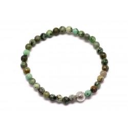 Bracelet Pierre semi précieuse Turquoise Afrique 4mm et Perle argentée