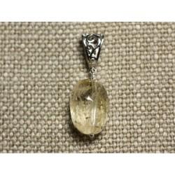 Collier Pendentif Pierre - Citrine Olive Facettée 20mm N1