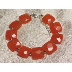 Bracelet Argent 925 et Pierre - Jade Orange Carrés Facettés 14mm