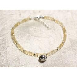 Bracelet Argent 925 et Pierre - Citrine rondelles facettées 3mm