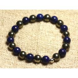 Bracelet Argent 925 et Perles de Pierre - Pyrite dorée et Lapis Lazuli 8mm