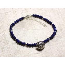 Bracelet Argent 925 et Pierre - Lapis Lazuli rondelles facettées 3x2mm
