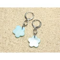 Boucles d'Oreilles Nacre Fleurs 15mm Bleu Turquoise Pastel