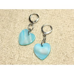 Boucles d'Oreilles Nacre Coeurs 18mm Bleu Turquoise
