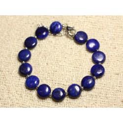Bracelet Argent 925 et Pierre - Lapis Lazuli Palets 10mm