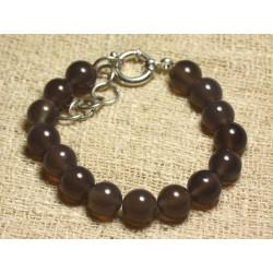 Bracelet Argent 925 et Perles de Pierre Agate Grise 10mm
