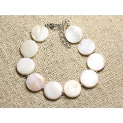 Bracelet Argent 925 et Nacre Blanche Palets 15mm