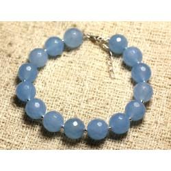 Bracelet Argent 925 et Pierre - Jade Bleue Facettée 10mm