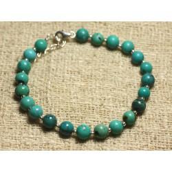 Bracelet Argent 925 et Perles de Pierre Turquoise Naturelle 6mm